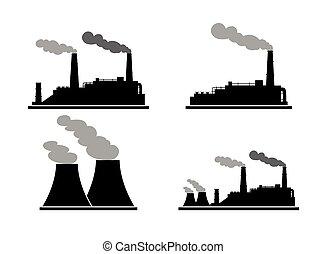costruzione, pianta, set, potere, industria, energy.,...