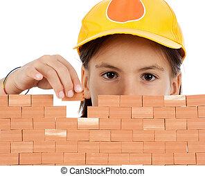 costruzione, poco, parete, isolato, fondo, ragazza, bianco