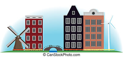 costruzione, ponte, netherlands., mulino, illustration.