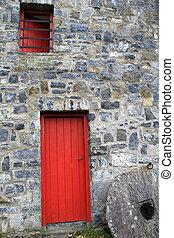 costruzione, porta, pietra, vecchio, rosso
