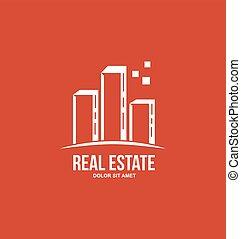 costruzione, proprietà, logotipo, grattacielo, rosso, reale, appartamento