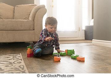 costruzione, ragazzo, blocchi giocattolo, bambino, casa