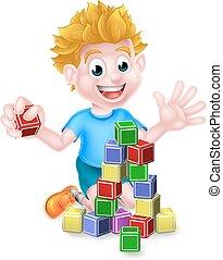 costruzione, ragazzo, blocchi, gioco, cartone animato