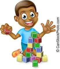 costruzione, ragazzo, blocchi, gioco