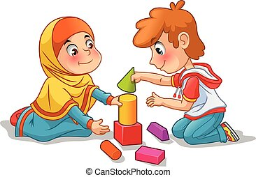 costruzione, ragazzo, blocchi, musulmano, ragazza, gioco