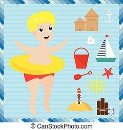 costruzione, ragazzo, poco, spiaggia., set., castello sabbia, spiaggia