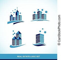 costruzione, reale, blu, logotipo, grattacielo, proprietà