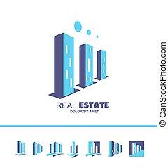 costruzione, reale, logotipo, icona, grattacielo, proprietà