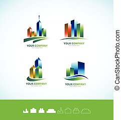 costruzione, reale, logotipo, set, icona, 3d, proprietà