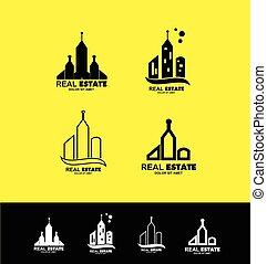 costruzione, reale, logotipo, set, icona, proprietà