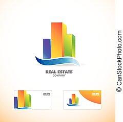 costruzione, reale, logotipo, skycraper, icona, proprietà