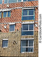 costruzione, residenziale, conchiglia, isolamento, nuovo