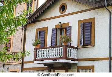 costruzione, rimini, centro, pittoresco, storico, facciata, balcone