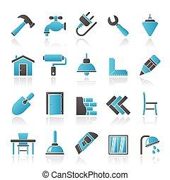 costruzione, rinnovamento domestico, icone