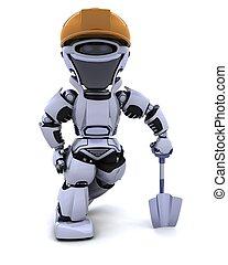 costruzione, robot, vanga