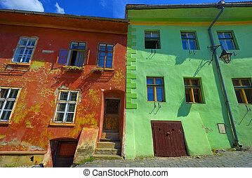 costruzione, romania, parete, casa, windows, verde, sighisoara, rosso