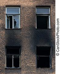 costruzione, rotto, bruciato