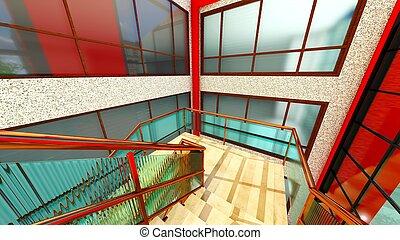 costruzione, scala, moderno, interpretazione, luminoso, 3d