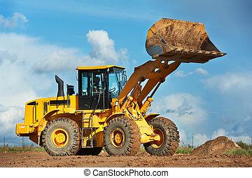 costruzione, scavatore, caricatore