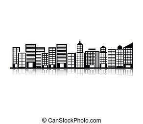 costruzione, scena città, illustrazione, monocromatico