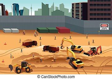 costruzione, scena, luogo