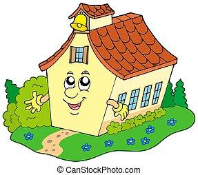 costruzione, scuola, cartone animato