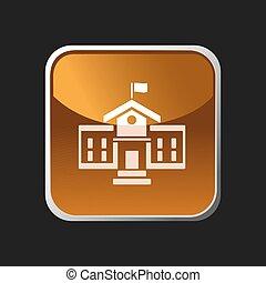 costruzione, scuola, quadrato, bottone, icona