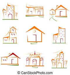 costruzione, set, architettonico