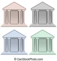 costruzione, set, banca, vettore, icone