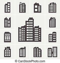 costruzione, set, illustrazione, icone