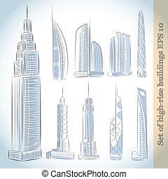 costruzione, set, moderno, grattacieli, icone