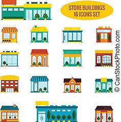 costruzione, set, negozio, icone