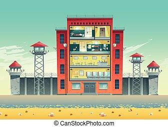 costruzione, sezione, croce, vettore, prigione, interiors