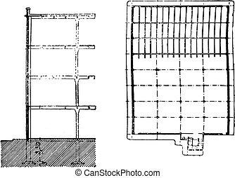 costruzione, sezione, e, piano, vista, di, filatura, vendemmia, engraving.