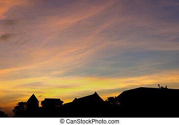 costruzione, silhouette, ufficio, sky., crepuscolo, tetto
