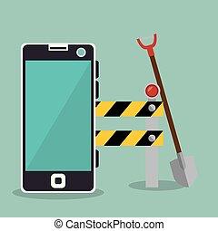 costruzione, smartphone, lavoratore, sotto