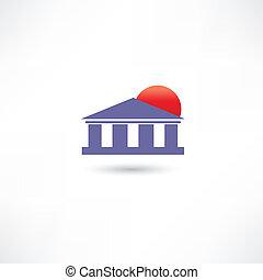 costruzione, sole, architettonico, rosso