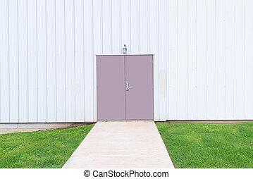 costruzione, spazio, doppio, commerciale, porta, copia