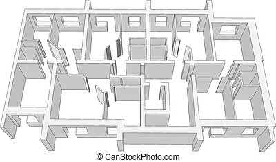 costruzione, stanza bianca, piano
