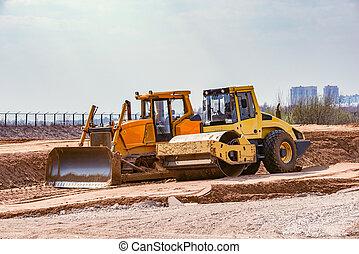 costruzione, stare in piedi, superficie strada, bulldozer, process., durante, rullo, nuovo, sabbia