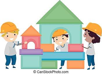 costruzione, stickman, bambini, blocchi, illustrazione