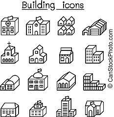 costruzione, stile, set, 3, magro, fondamentale, linea, dimensione, icona