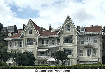 costruzione, stile, storico, century., vista, istanbul., indietro, tradizionale, 19, datato, architettonico, mostra, dettagli