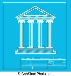 costruzione storica, illustration., bianco, sezione, di, icona, su, cianografia, template.