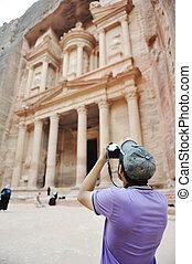 costruzione, storico, jordan), vecchio, foto, (petra, presa, turista