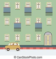 costruzione, strada, vendemmia, illustrazione, vettore, parcheggio, automobile