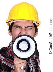 costruzione, strike., lavoratore, chiamata