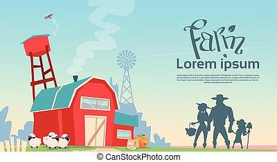 costruzione, terreno coltivato, silhouette, famiglia, coltivatori, campagna, paesaggio
