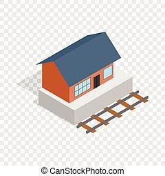 costruzione, treno, isometrico, stazione, icona