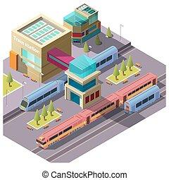 costruzione, treno, isometrico, stazione, vettore
